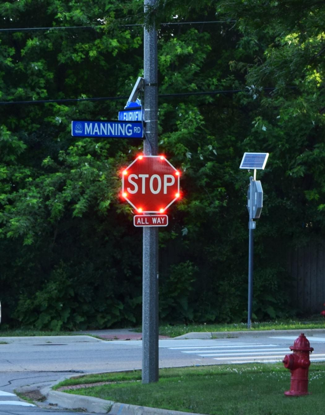 Solar/AC Powered Flashing Stop Signs