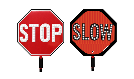 Handheld flashing stop/slow sign
