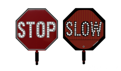 Handheld flashing stop/slow sign